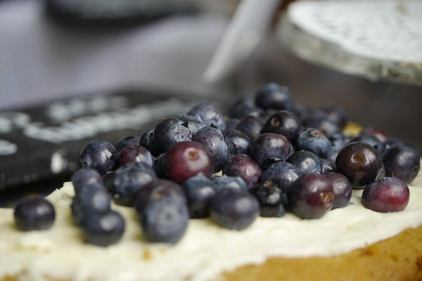Blueberry and sour cream cake