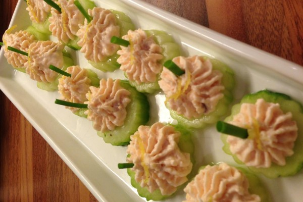 Smoked trout cucumber cups