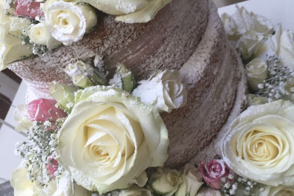 naked wedding cake cream roses